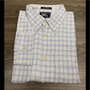 Burberry Grey, Purple & White Plaid Shirt XL